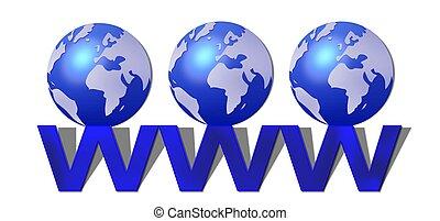 世界, www, 広く, 網