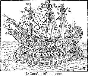 世紀, 船, 端, 偉人, 書店, engraving., 型, 16番目