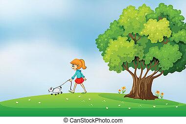 丘の上, 歩くこと, 女の子, 犬, 彼女