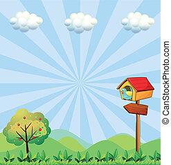 丘の上, birdhouse, arrowboard