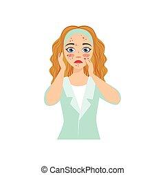 丘疹, 問題となる, 不幸, 顔, 見る, 皮膚, 女の子, 彼女自身