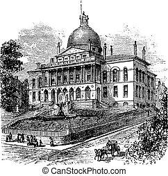 丘, 家, アメリカ, 新しい, マサチューセッツ, ボストン, マサチューセッツ, 標識, 州会議事堂, 彫版, ∥...