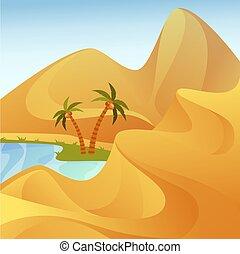 丘, 砂, 木, オアシス, パームデザート