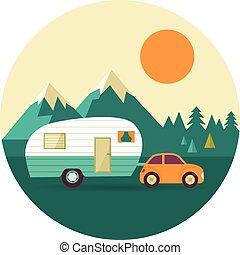 丘, 自然, 型, キャンパー, 森林, ベクトル, 背景, 自動車