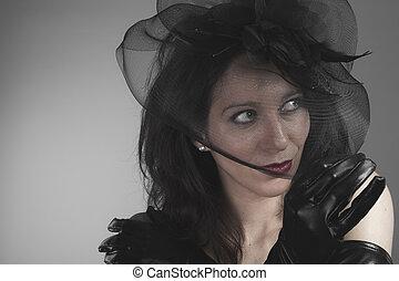丟失, 寡婦, 婦女, 由于, 黑色, 面紗, 概念, ......的, 死, 以及, 損失