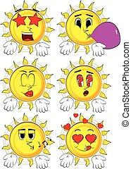 両方とも, ∥そうする∥, 太陽, 提示, gesture., 漫画, 何か, 表現, 手, ∥あるいは∥, 知りなさい