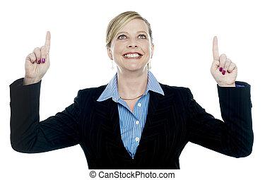 両方とも, 指すこと, 企業である, 手, 女性, 上向きに