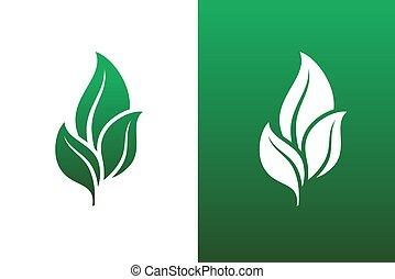 両方とも, 葉, 固体, 反転された, バックグラウンド。, ベクトル, 対, イラスト, アイコン