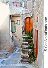 中世紀, 島, emporio, 村莊, santorini, 希臘