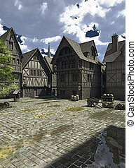 中世紀, 或者, 幻想, 城市正方形