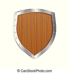中世紀, 木制, 被隔离, 插圖, 矢量, 背景, 白色, 盾