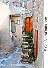 中世紀, 村莊, ......的, emporio, 在, santorini 島, 在, 希臘