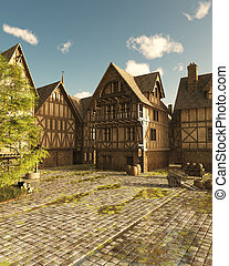 中世紀, 街道, 上, a, 明亮, 陽光充足的日