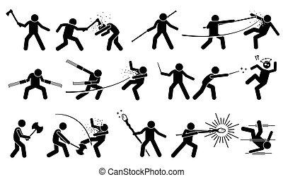 中世纪, 武器, 攻击, fight., 使用, 战争, 人