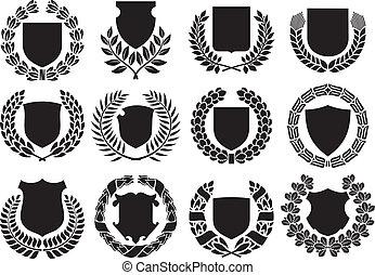中世纪, 盾, 同时,, 月桂花环