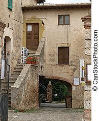 中世, トスカーナ, monteriggioni, 村