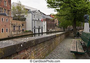 中世, 中心, bruges, 静寂, 通り, ベルギー