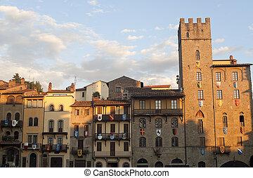 中世, 建物, 中に, arezzo, (tuscany, italy)