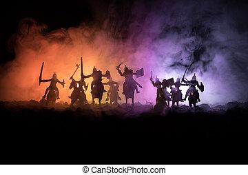 中世, 戦い場面, ∥で∥, 装甲部隊, そして, infantry., シルエット, の, 数字, ∥ように∥, 別,...