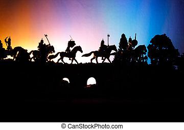 中世, 戦い場面, 上に, 橋, ∥で∥, 装甲部隊, そして, infantry., シルエット, の, 数字,...