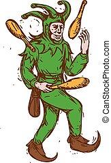 中世, 木製である, こっけい者, ピンを運ぶ, 図画