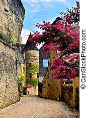 中世, 村, dordogne, 花, 通り, 美しい, フランス, タワー