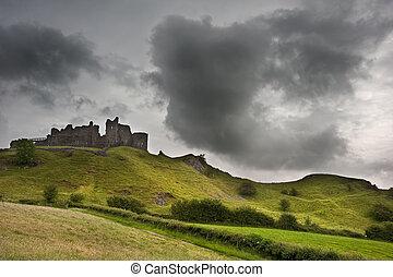 中世, 空, 台無しにされる, 劇的, 城, 風景