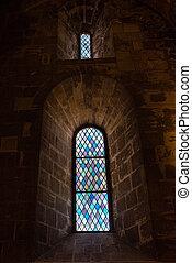 中世, 窓, 中, ステンドグラス, 教会
