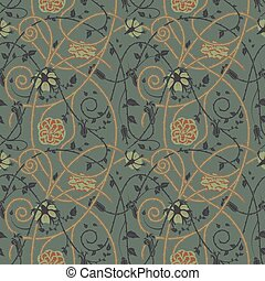 中世, 花, パターン, 暗い