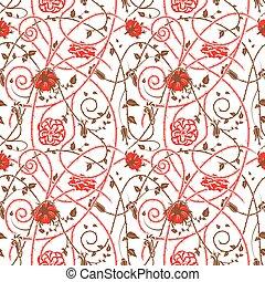 中世, 花, パターン, 白