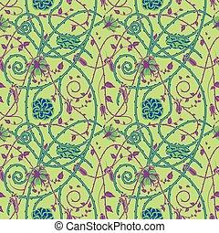 中世, 花, パターン, 緑