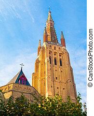 中世, bruges, よく晴れた日, 教会, ベルギー, 私達の, 女性