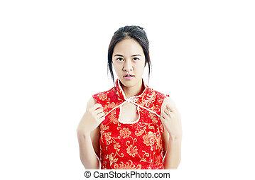 中国の女性, 赤いドレス, 伝統的である, cheongsam