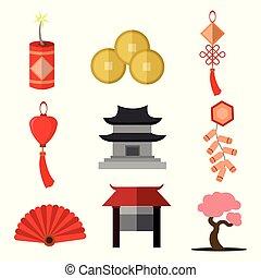 中国の文化, 単純である, アイコン, ベクトル, イラスト, グラフィック, セット
