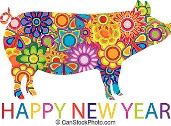 中国の新年, カラフルである, 豚, イラスト
