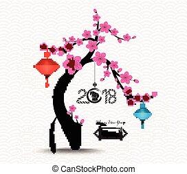 中国の新年, 花, 木, 2018, 背景