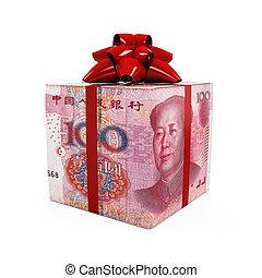 中国のyuan, お金, 贈り物の箱