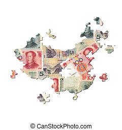 中国のyuan, 地図, ジグソーパズル
