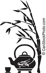 中国語, お茶, ティーポット, カップ, そして, 竹