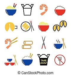 中国語, アイコン, 食物, 離れて, -, を過ぎて, 取得