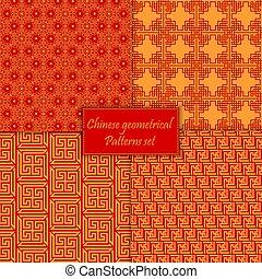 中国語, アジア人, 幾何学的, seamless, ベクトル, パターン, バックグラウンド。, 伝統的である, ornament.