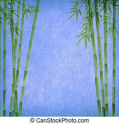 中国語, インキの絵, の, 竹, 上に, o