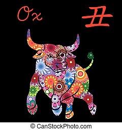中国語, カラフルである, 印, 牛, 黄道帯, 花