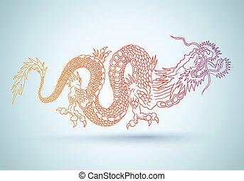中国語, カラフルである, dragon.