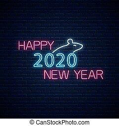 中国語, シルエット, 白熱, text., 年, 挨拶, ネオン, 2020, 幸せ, 新しい, シンボル, カード,...