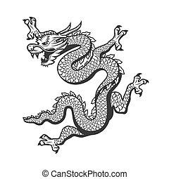 中国語, シンボル, ドラゴン, 陶磁器, 年, 新しい, 黄道帯