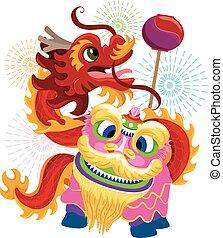 中国語, ダンス, ドラゴン, ライオン, 年, 新しい