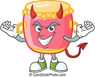 中国語, ドラム, デザイン, 漫画, 特徴, 悪魔, 赤