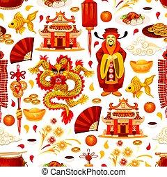 中国語, パターン, シンボル, ベクトル, 月, 年, 新しい