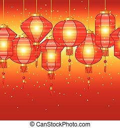 中国語, パターン, seamless, lanterns., 年, 新しい
